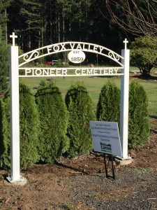 Cemetery sign after